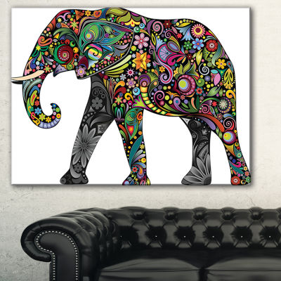 Designart Floral Cheerful Elephant Animal CanvasArt Print - 3 Panels