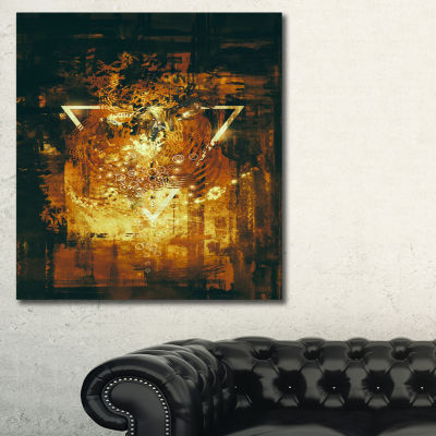 Designart Abstract Golden Elements Abstract CanvasArt Print