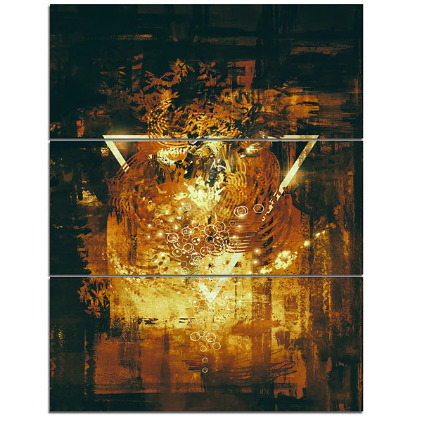 Designart Abstract Golden Elements Abstract CanvasArt Print - 3 Panels