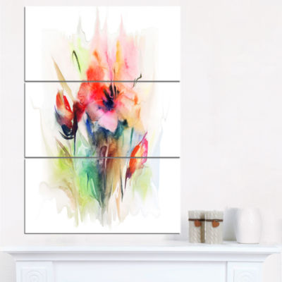 Design Art Floral Watercolor Illustration AbstractFloral Canvas Art - 3 Panels