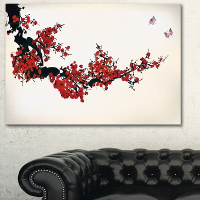 Designart Floral Winter Sweet Floral Art Canvas Print - 3 Panels
