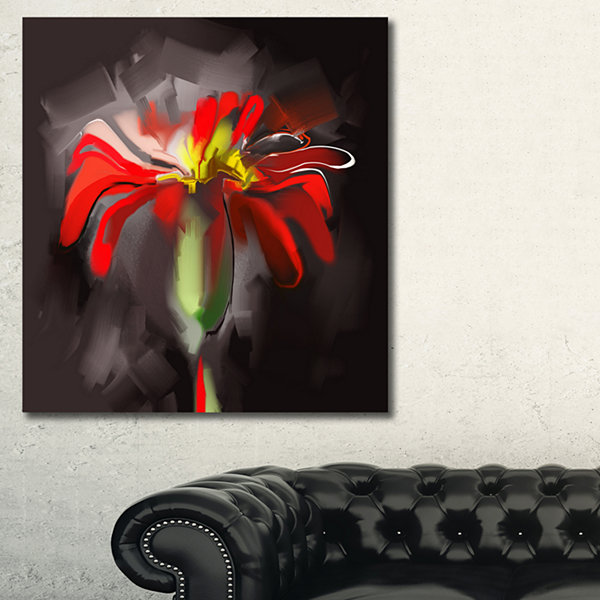 Designart Abstract Red Flower Floral Art Canvas Print