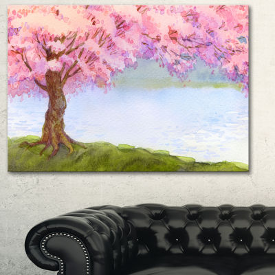 Designart Flowering Pink Tree By Lake Floral Art Canvas Print