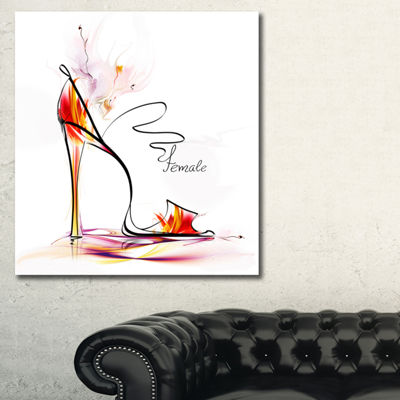 Designart Abstract Red High Heel Abstract CanvasArt Print