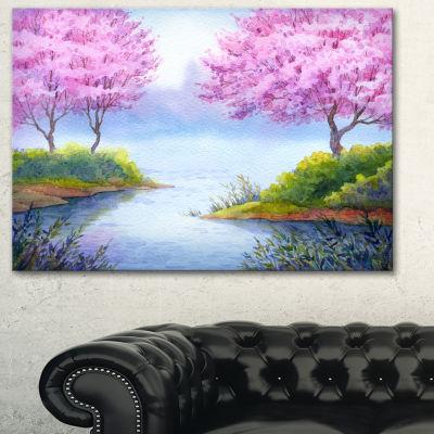 Designart Flowering Trees Over Lake Landscape ArtPrint Canvas