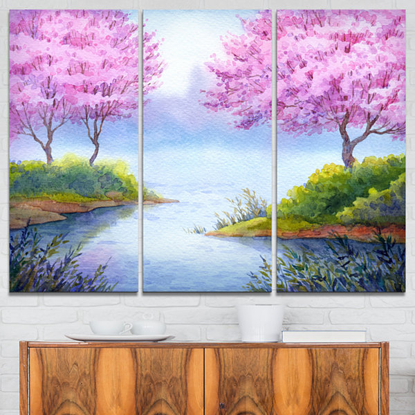 Designart Flowering Trees Over Lake Landscape ArtPrint Canvas - 3 Panels