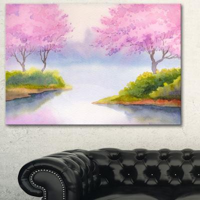 Designart Flowering Trees Over River Landscape ArtPrint Canvas