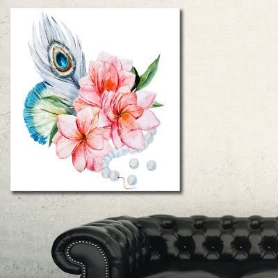 Designart Flowers And Peacock Feather Floral ArtCanvas Print - 3 Panels