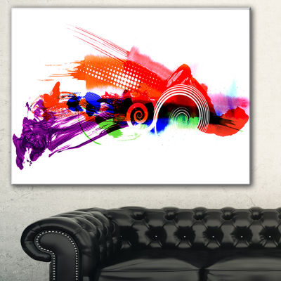 Designart Abstract Splashes Of Colors Abstract Canvas Painting