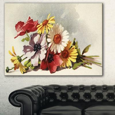 Designart Flowers Illustration Floral Canvas WallArt - 3 Panels