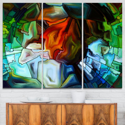 Design Art Abstract Stained Glass Design AbstractCanvas Print - 3 Panels
