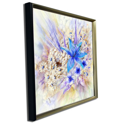 Designart Flowers Leaves Watercolor Art Floral ArtCanvas Print