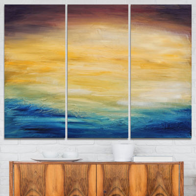 Designart Abstract Water Sunset Abstract Canvas Print - 3 Panels