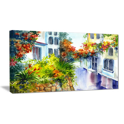 Designart Flowers Near The House Landscape Art Print Canvas