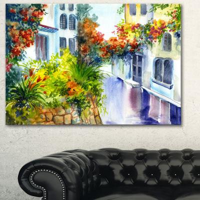 Designart Flowers Near The House Landscape Art Print Canvas - 3 Panels