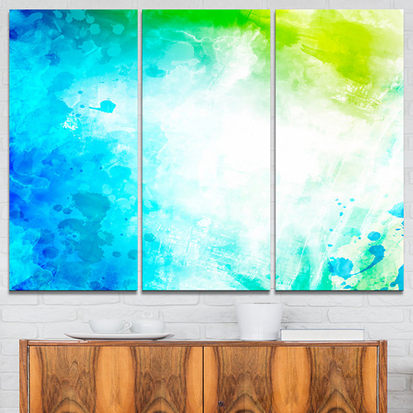Designart Abstract Watercolor Art Abstract CanvasArtwork - 3 Panels