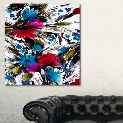 Designart Flowers With Fusion Of Colors Abstract Canvas Art Print