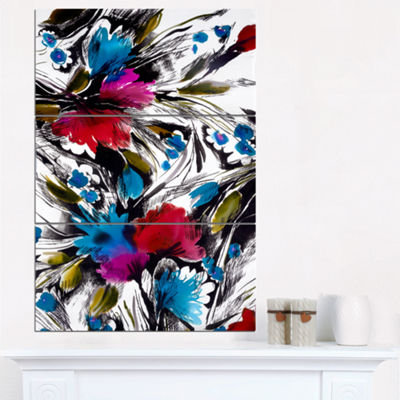 Designart Flowers With Fusion Of Colors AbstractCanvas Art Print - 3 Panels