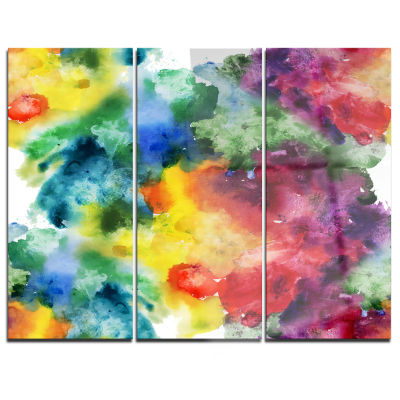 Design Art Abstract Watercolor Texture Abstract Canvas Artwork - 3 Panels