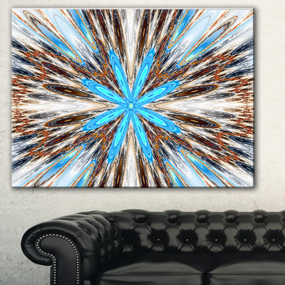 Designart Flowers With Radiating Rays Abstract Canvas Art Print - 3 Panels