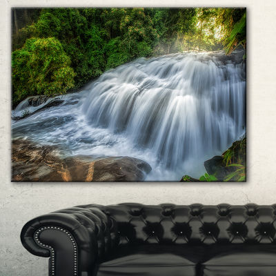 Designart Flowing Pha Dokseaw Waterfall Lanscape Photography Canvas Print
