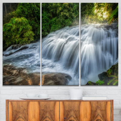 Designart Flowing Pha Dokseaw Waterfall LandscapePhotography Canvas Print - 3 Panels