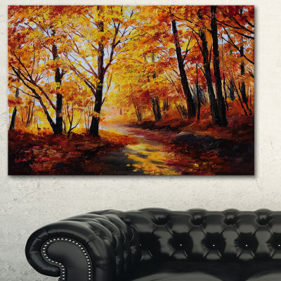 Designart Forest In Autumn Landscape Art Print Canvas