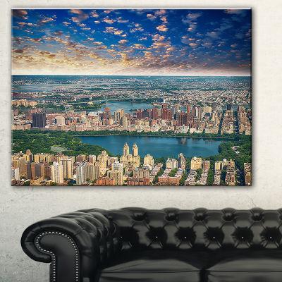 Designart Aerial View Of Central Park Landscape Photography Canvas Print - 3 Panels