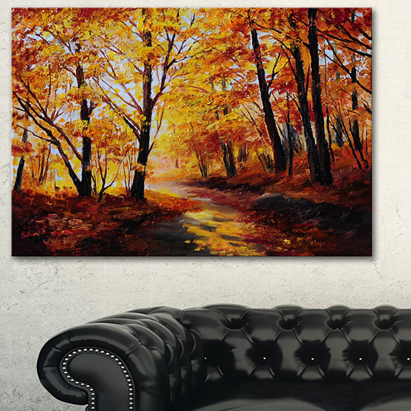 Designart Forest In Autumn Landscape Art Print Canvas - 3 Panels