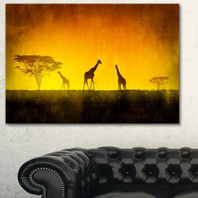 Designart African Sunset Aura Landscape Art PrintCanvas