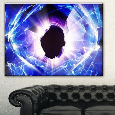 Designart Fractal Blue Light Shine Abstract CanvasArt Print
