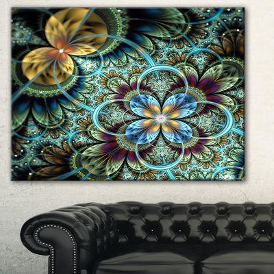 Designart Fractal Dark Orange Blue Flowers FloralArt Canvas Print - 3 Panels