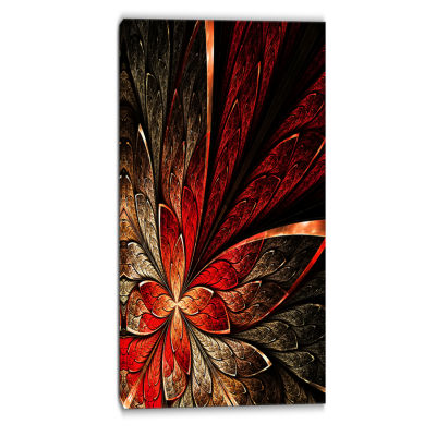 Designart Fractal Flower In Yellow And Red FloralArt Canvas Print