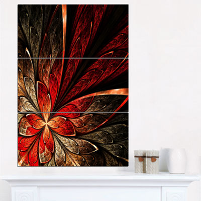 Designart Fractal Flower In Yellow And Red FloralArt Canvas Print - 3 Panels