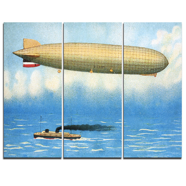 Designart Airship Illustration Abstract Print OnCanvas - 3 Panels
