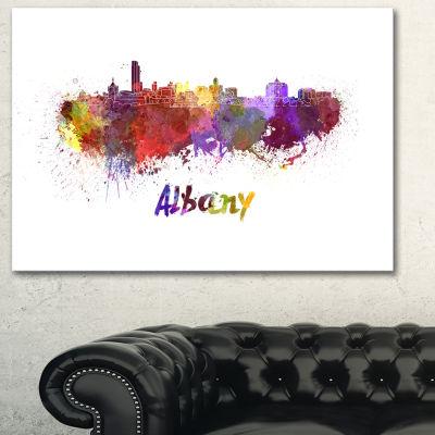 Designart Albany Skyline Cityscape Canvas ArtworkPrint - 3 Panels