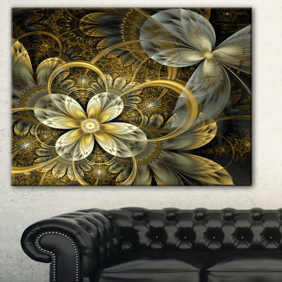 Designart Fractal Orange Yellow Flowers Floral ArtCanvas Print - 3 Panels