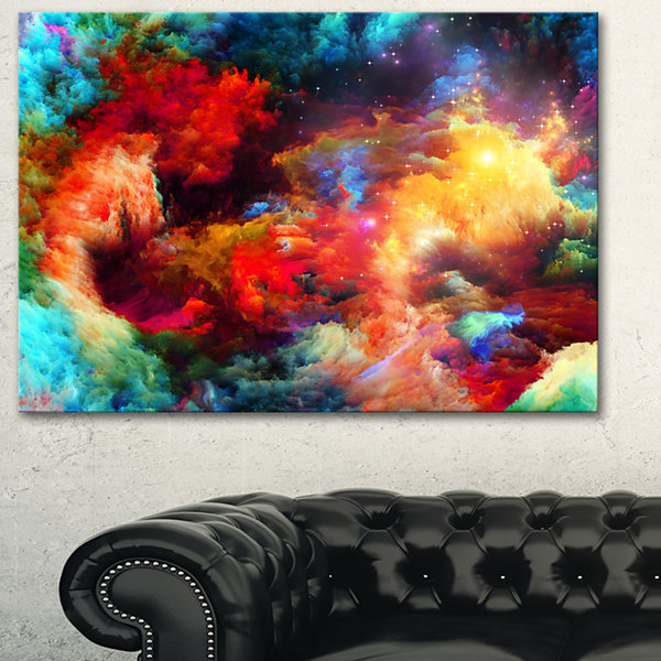Designart Fractal Paint Fusion Contemporary Art Canvas Print