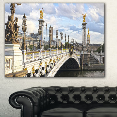 Designart Alexandre Iii Bridge Panoramic View Photography Canvas Art Print