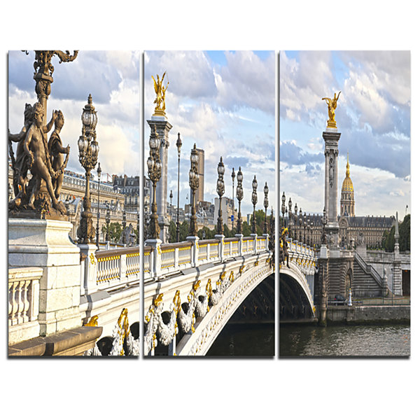 Designart Alexandre Iii Bridge Panoramic View Photography Canvas Art Print - 3 Panels