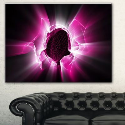 Designart Fractal Purple Light Shine Abstract Canvas Art Print - 3 Panels