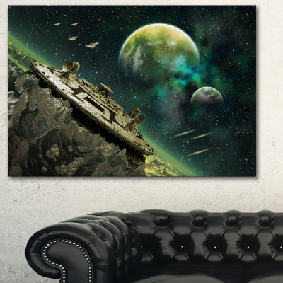 Designart Alien Planet Abstract Canvas Art Print-3Panels