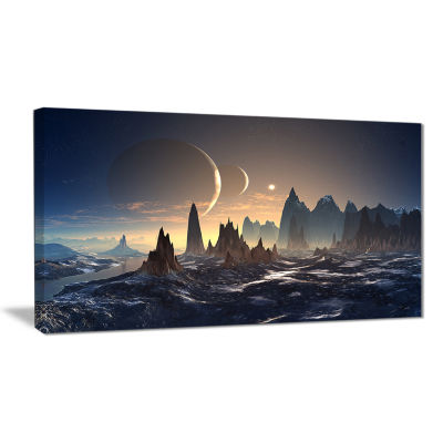 Designart Alien Planet With Mountains ContemporaryCanvas Art Print