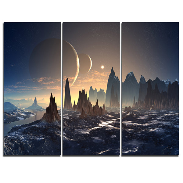 Designart Alien Planet With Mountains ContemporaryCanvas Art Print - 3 Panels