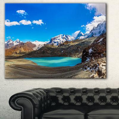 Designart Alps Mountain Fountain Photography Canvas Art Print