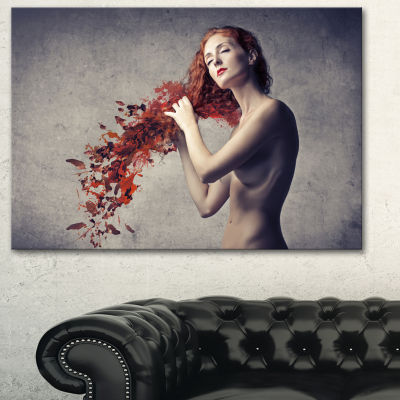 Designart From Red Hair To Leaves Contemporary Canvas Art Print