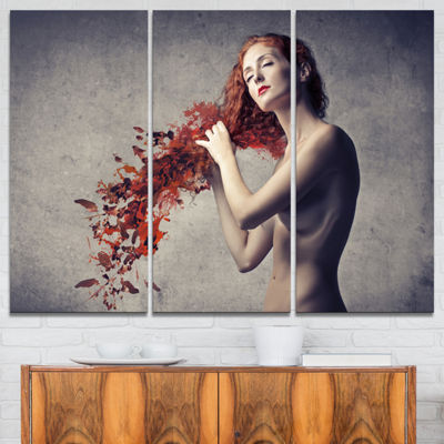 Designart From Red Hair To Leaves Contemporary Canvas Art Print - 3 Panels
