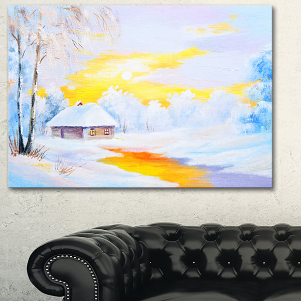 Designart Frozen River In Winter Landscape Art Print Canvas