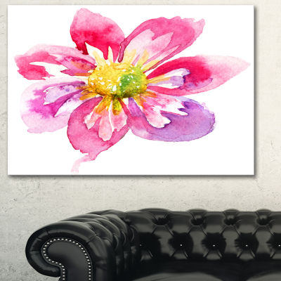 Designart Full Bloom Pink Flower Floral Art CanvasPrint - 3 Panels