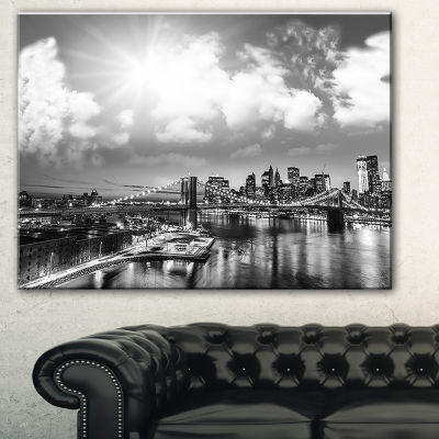 Designart Amazing Night In New York City CityscapePhoto Canvas Print - 3 Panels